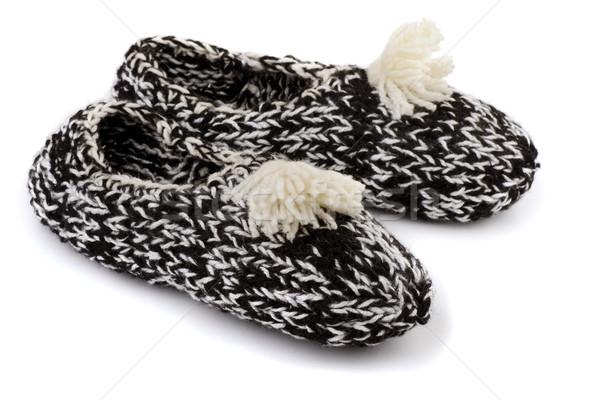 Kötött házi cipők pár kézzel készített izolált fehér Stock fotó © coprid