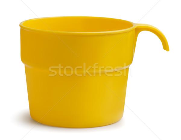 プラスチック カップ 黄色 孤立した 白 コーヒー ストックフォト © coprid