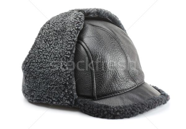 Zimą cap odizolowany biały tle czarny Zdjęcia stock © coprid