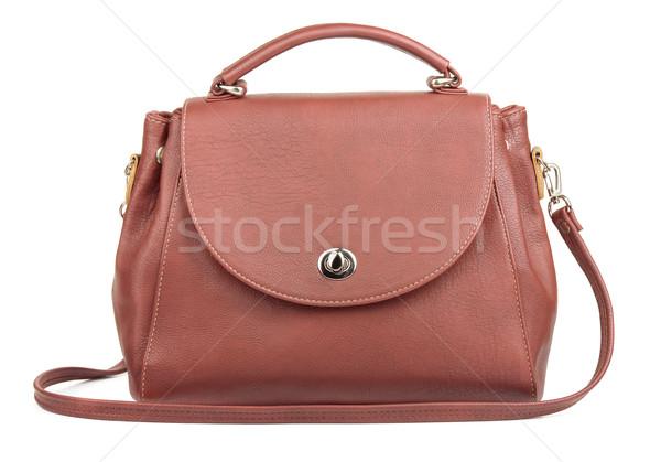 Brun sac à main isolé blanche design fond Photo stock © coprid