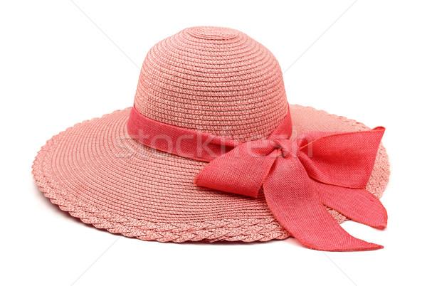 麦わら帽子 ピンク 弓 孤立した 白 ビーチ ストックフォト © coprid