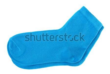 Calze coppia blu cotone isolato bianco Foto d'archivio © coprid