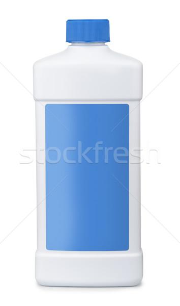 Biały plastikowe butelki niebieski pusty etykiety Zdjęcia stock © coprid