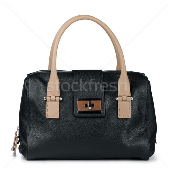 Cuir sac à main noir isolé blanche sac Photo stock © coprid