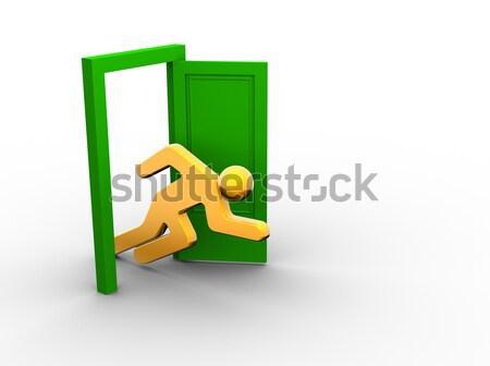 Nyitott ajtó 3d emberek férfi fut fut fickó Stock fotó © coramax