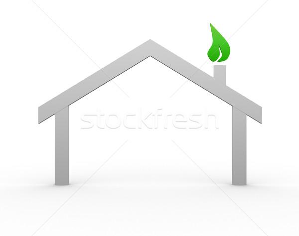 Casa símbolo 3d render ilustração edifício construção Foto stock © coramax