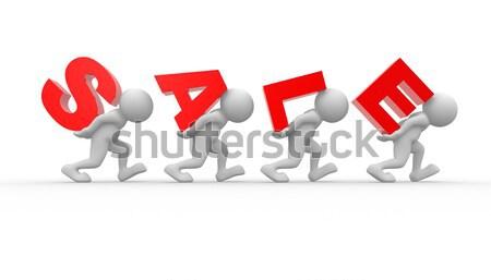 Nyíl 3d emberek férfiak személyek szállít csapatmunka Stock fotó © coramax
