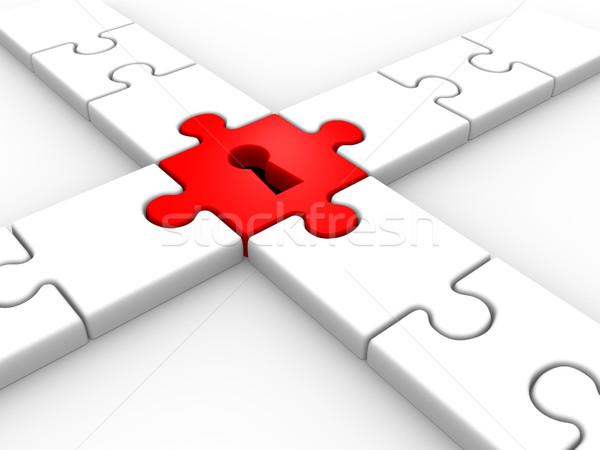Stock foto: Puzzle · Schlüsselloch · 3d · render · Hintergrund · Sicherheit · weiß