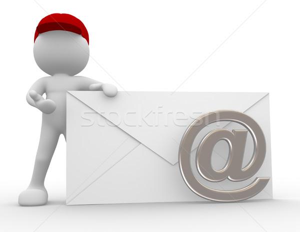 Postás 3d emberek férfi személy boríték küld Stock fotó © coramax
