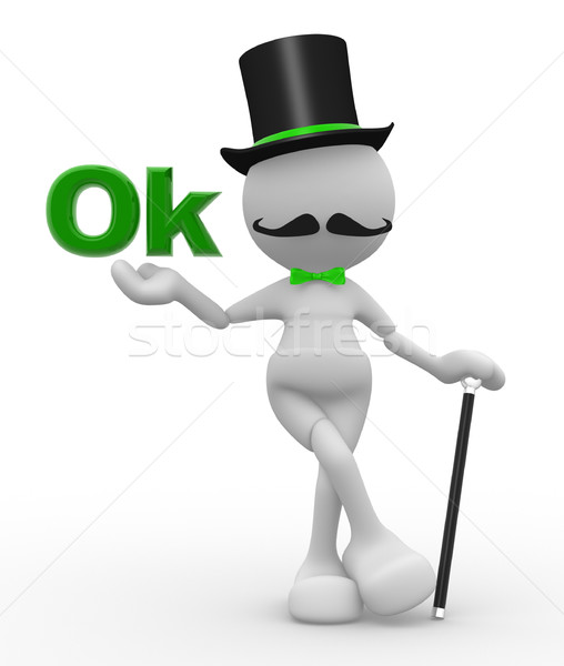 3d people - man, person with hat and with a cane. Gentleman and word ' OK' Stock photo © coramax