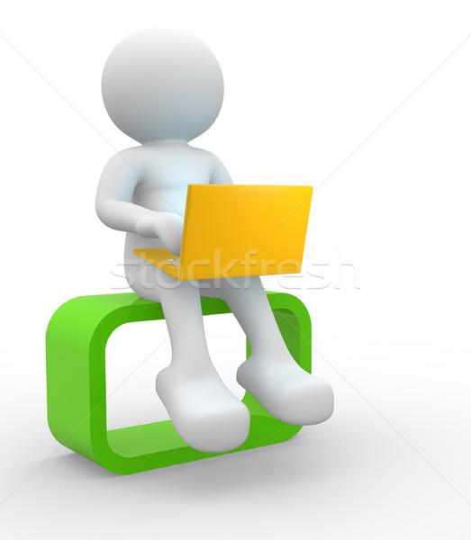 ノートパソコン 3次元の人々 男 人 インターネット 男性 ストックフォト © coramax