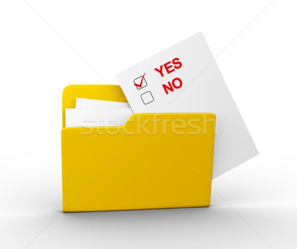 Klasör onay kutusunu evet 3d render örnek Stok fotoğraf © coramax