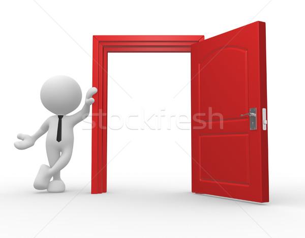 Kapıyı açmak 3d insanlar adam kişi soyut kilitlemek Stok fotoğraf © coramax