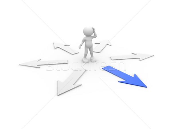 Confusion gens 3d homme personne bleu flèche Photo stock © coramax