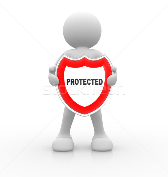 Protegido 3d personas hombre persona escudo diseno Foto stock © coramax