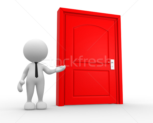 Porte gens 3d homme personne maison aider Photo stock © coramax