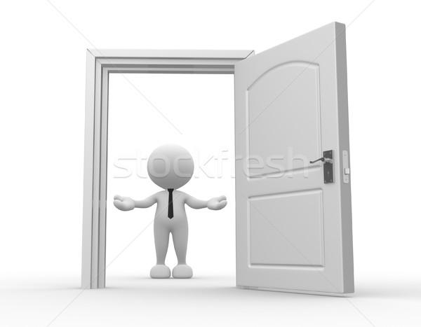 ビジネスマン 3次元の人々 男 人 オープンドア 歓迎 ストックフォト © coramax