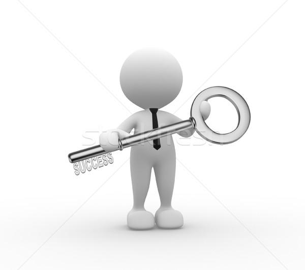 Stock foto: Schlüssel · 3D-Menschen · Mann · Person · Erfolg · Hintergrund