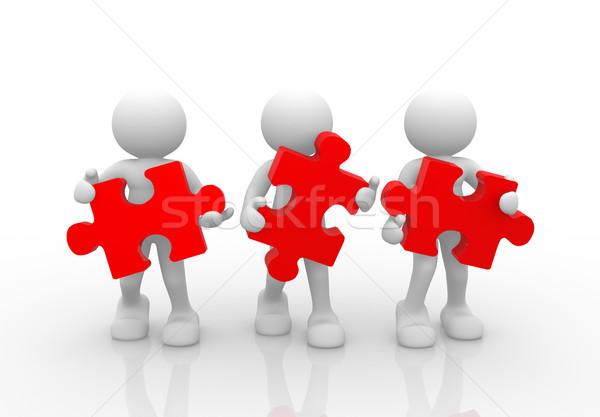 Pièces puzzle gens 3d homme personne équipe Photo stock © coramax
