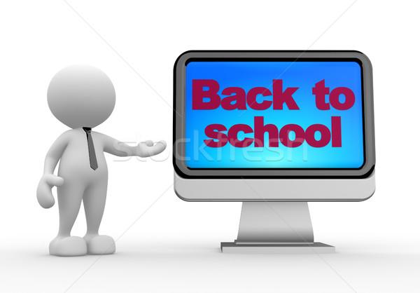 Vissza az iskolába 3d emberek férfi személy monitor iskola Stock fotó © coramax