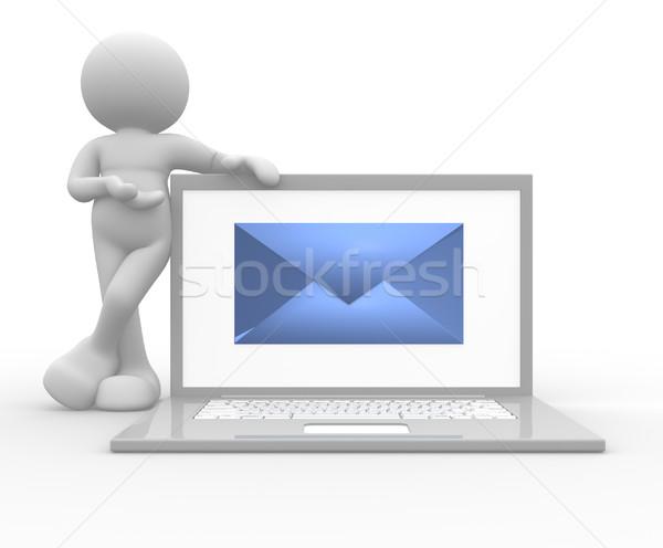 Laptop 3d emberek férfi személy email számítógép Stock fotó © coramax