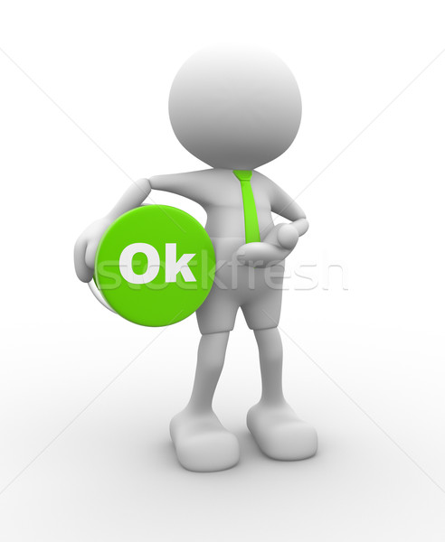 3d people - man, person with button ' OK' Stock photo © coramax