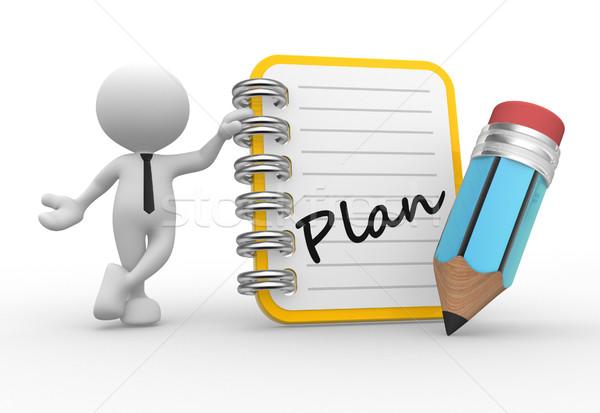 Notebook 3d emberek férfi személy ceruza terv Stock fotó © coramax