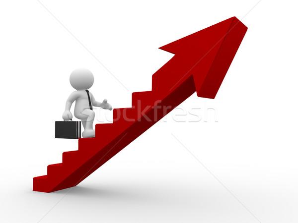 ビジネスマン 3次元の人々 男性 人 登山 階段 ストックフォト © coramax