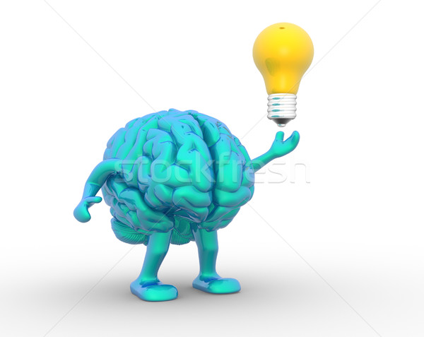 Cérebro 3D 3d render ilustração luz Foto stock © coramax