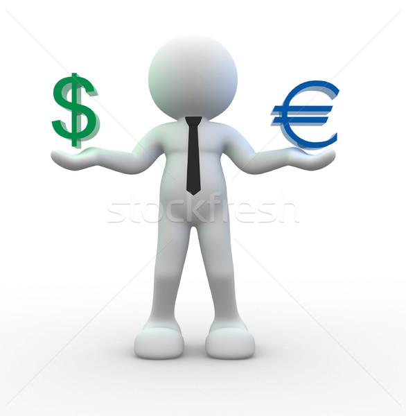 знак доллара евро 3d люди человека человек Сток-фото © coramax