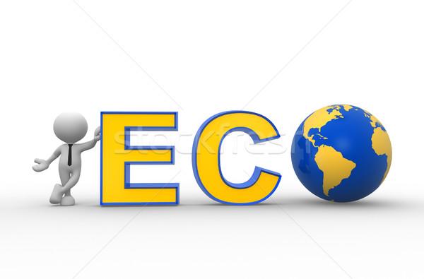 öko 3d emberek férfi személy Föld földgömb Stock fotó © coramax