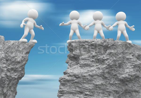 Segítő kéz 3d emberek emberi karakter személy kő Stock fotó © coramax