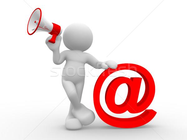Megafon 3d emberek emberi karakter személy email Stock fotó © coramax