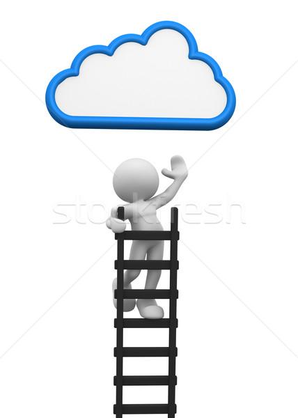 Stockfoto: Ladder · 3d · mensen · man · persoon · wolk