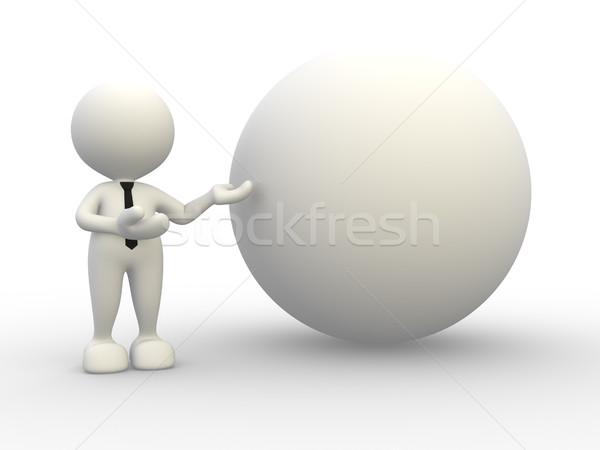 Gömb 3d emberek férfi személy sportok felirat Stock fotó © coramax