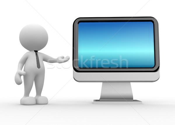 Monitor 3d emberek férfi személy üzlet laptop Stock fotó © coramax
