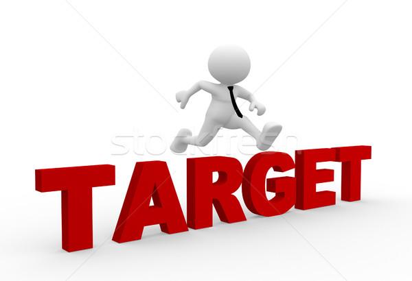 Target 3d mensen man persoon springen woord Stockfoto © coramax