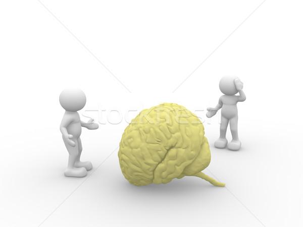 Hersenen 3d mensen man persoon Geel mannen Stockfoto © coramax
