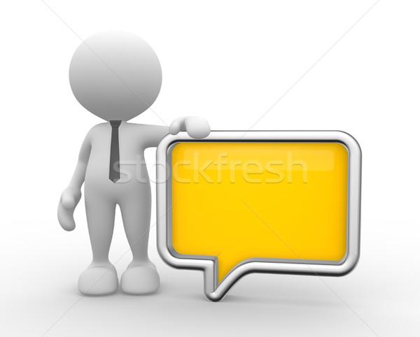 üzletember 3d emberek férfi személy szövegbuborék kommunikáció Stock fotó © coramax