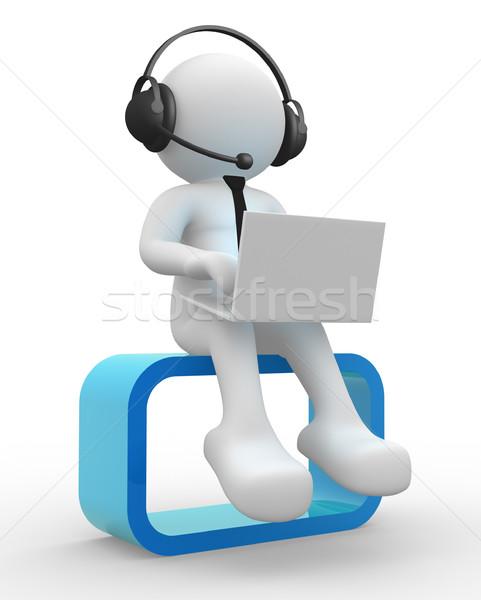 Stok fotoğraf: Dizüstü · bilgisayar · 3d · insanlar · adam · kişi · kulaklık · iş