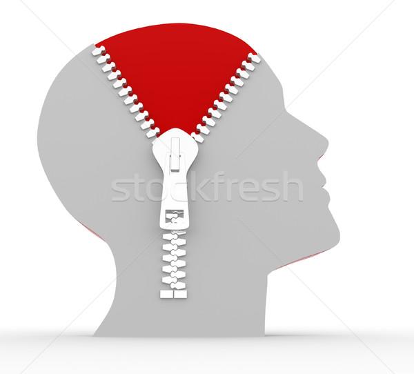 Cremallera cabeza abierto inteligencia cara Foto stock © coramax