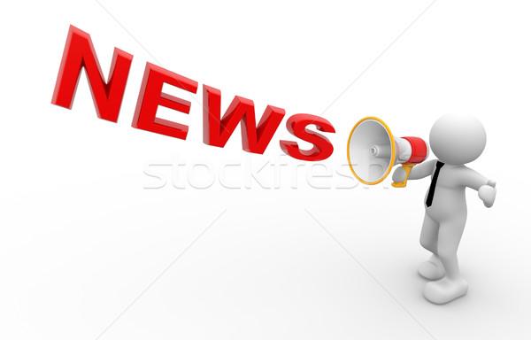 Noticias 3d personas hombre persona megáfono tecnología Foto stock © coramax