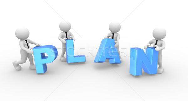 Woord plan 3d mensen man persoon team Stockfoto © coramax