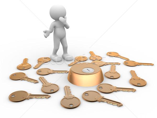 Sleutels sleutelgat 3d mensen menselijke karakter persoon Stockfoto © coramax