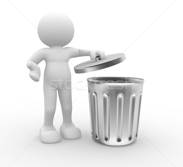 Cesto de lixo 3d pessoas humanismo pessoa em pé Foto stock © coramax