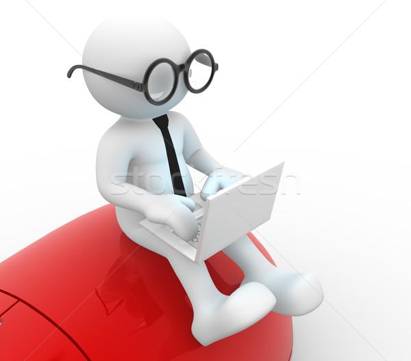 Laptop 3d emberek férfi személy egér internet Stock fotó © coramax