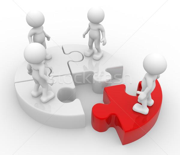 Discrimination gens 3d hommes personne groupe puzzle Photo stock © coramax