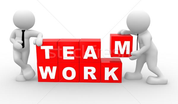 Travail d'équipe gens 3d hommes personne cubes affaires Photo stock © coramax