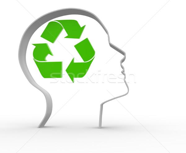 Recycleren 3d mensen menselijke karakter persoon ecologie Stockfoto © coramax