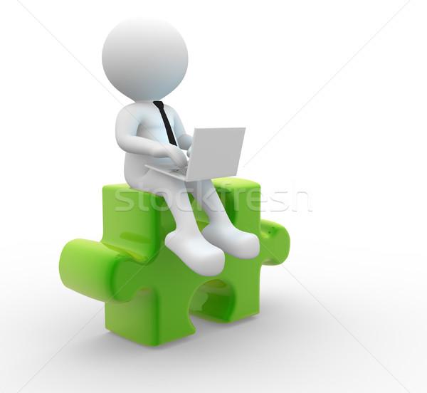 Laptop 3d emberek férfi személy darabok puzzle Stock fotó © coramax